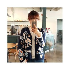 LEELIN - Drop-Shoulder Floral-Pattern Cardigan
