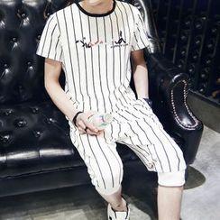 丹傑仕 - 套裝: 條紋字母T裇 + 運動短褲