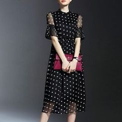 la nuit - Dotted Bell-Sleeve Chiffon Dress