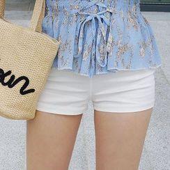 Seoul Fashion - Zip-Side High-Waist Shorts