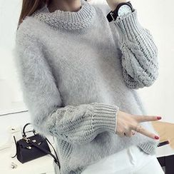 FR - Cable Knit Panel Chunky Sweater