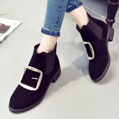 QQ Trend - Metal Buckle Ankle Boots