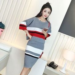 Iscat - Set: Striped 3/4-Sleeve Knit Top + Knit Pencil Skirt