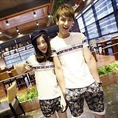 Evolu - Short-Sleeve Print Couple T-Shirt