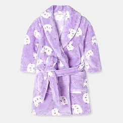 Yobaby - Cat Print Kids Coral Fleece Robe