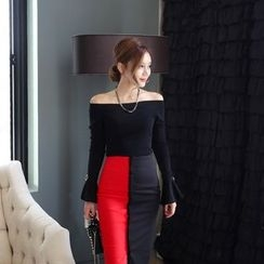 Clospace - Set: Off-shoulder Knit Top + Colour Block Skirt
