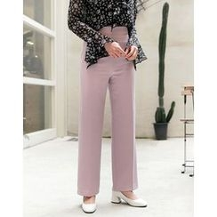 UPTOWNHOLIC - Flat-Front Zip-Side Pants