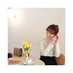 LEELIN - Mandarin-Collar Lace Knit Blouse