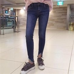 QNIGIRLS - Distresed-Hem Skinny Jeans
