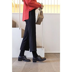 CHERRYKOKO - Wool Blend Wide-Leg Dress Pants