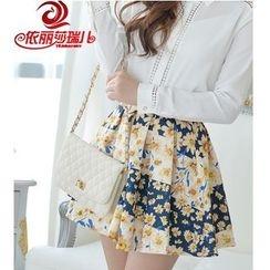 Elisa Rachel - Floral Print Ruffle Skirt
