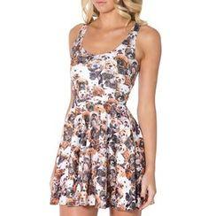 Omifa - Sleeveless Dog-Print A-Line Dress