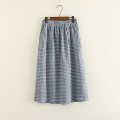Mushi - Striped Midi Skirt