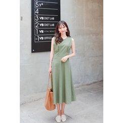 Cherryville - Sleeveless Linen Blend A-Line Dress