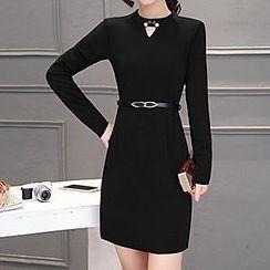 Fashion Street - Cut Out Front Long Sleeve Mini Dress