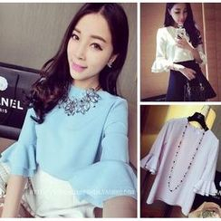 QZ Lady - Bell Elbow-Sleeve Chiffon Top