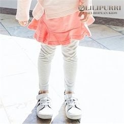 LILIPURRI - Girls Inset Contrast Flare Skirt Leggings