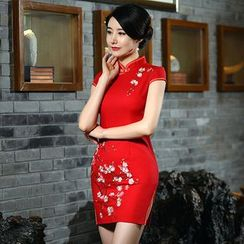 Montebelle - Floral Embroidered Cap-Sleeve Cheongsam