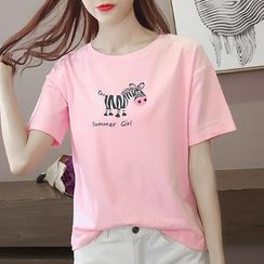 Adima - Zebra Print Short-Sleeve T-Shirt