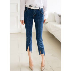 J-ANN - Asymmetric-Hem Straight-Cut Jeans