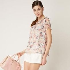 O.SA - Pleated Ruffle-Bib Floral Blouse