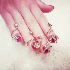 Ticoo - Rhinestone Nail Ring