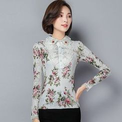 Yumerakka - Floral Long-Sleeve Lace Blouse