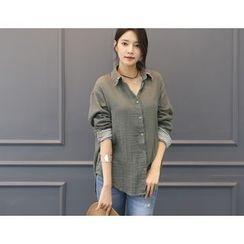 DANI LOVE - Fringed-Collar Stripe-Trim Shirt