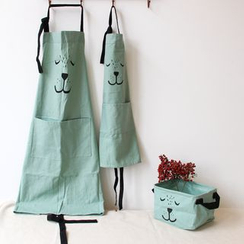 三木青禾 - 親子裝卡通印花圍裙