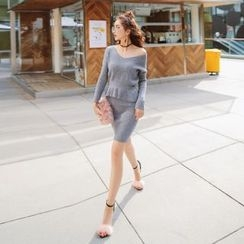 Tang House - Set: Peplum Sweater + Knit Skirt