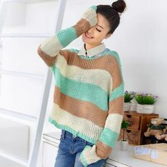 59 Seconds - Striped Cropped Sweater