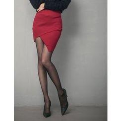 GUMZZI - Wrap Asymmetric-Hem Miniskirt