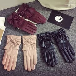 TAAK - Bow-Accent Faux-Leather Gloves