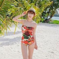 Rachel Swimwear - Floral Print Strapless Swimsuit