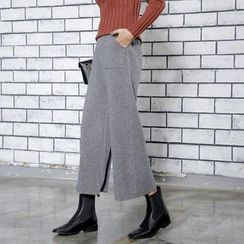 Sonne - High-Waist Wide-Leg Cropped Knit Pants