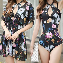 Sweet Splash - Set: Floral Print Halter Neck Swimsuit + Cover Up