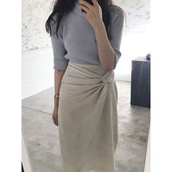 maybe-baby - Crew-Neck Elbow-Sleeve Rib-Knit Top
