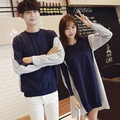 Azure - Couple Matching Striped Panel Pullover/ Long Sleeve Dress