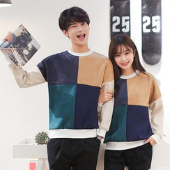 Azure - Couple Matching Color Panel Pullover