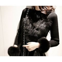 Marlangrouge - Faux-Fur Bustier Top