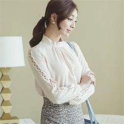 ode' - Embroidered-Sleeve Chiffon Blouse