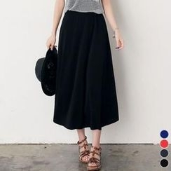 ANNINA - Band-Waist Long Skirt