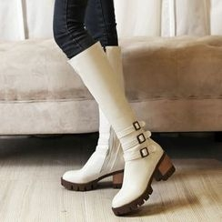 Pastel Pairs - Buckled Chunky Heel Tall Boots