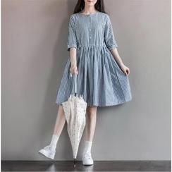 Fancy Show - Elbow-Sleeve Striped Dress