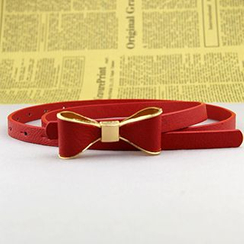 Follow Me - Bow Faux Leather Slim Belt