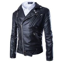 Aozora - Faux-Leather Biker Jacket