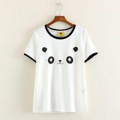 Mushi - Panda Face Ringer T-Shirt