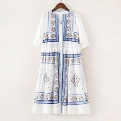 ninna nanna - Floral Print Elbow Sleeve Button Down Dress