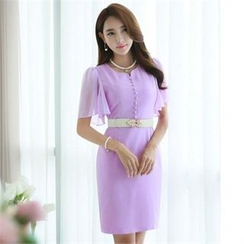 Styleonme - Flutter Chiffon-Sleeve Buttoned Sheath Dress