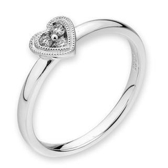 MaBelle - 18K 白色黄金钻石心形珠边戒指 (约0.05卡)
